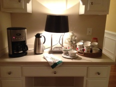 Kitchen desk serves as hot beverage bar