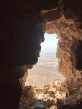 view of the Dead Sea from the ruins at Masada