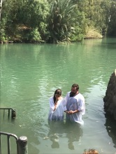My daughter, Jordan, getting baptized in the Jordan river by her friend, Pastor Caleb